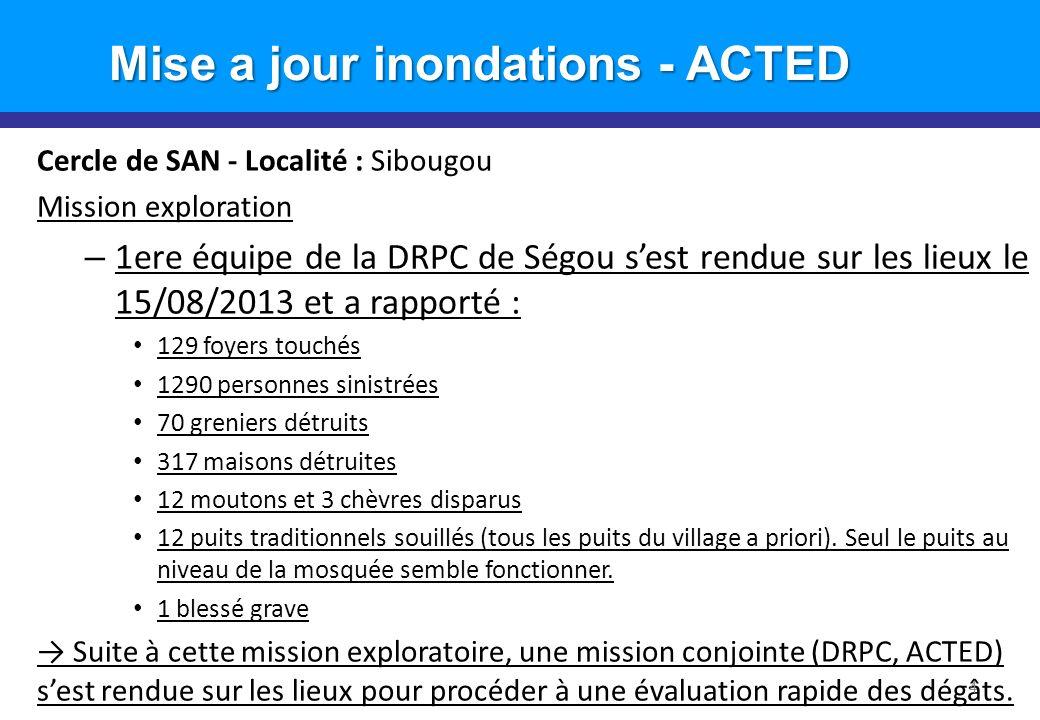Cercle de SAN - Localité : Sibougou Mission exploration – 1ere équipe de la DRPC de Ségou sest rendue sur les lieux le 15/08/2013 et a rapporté : 129