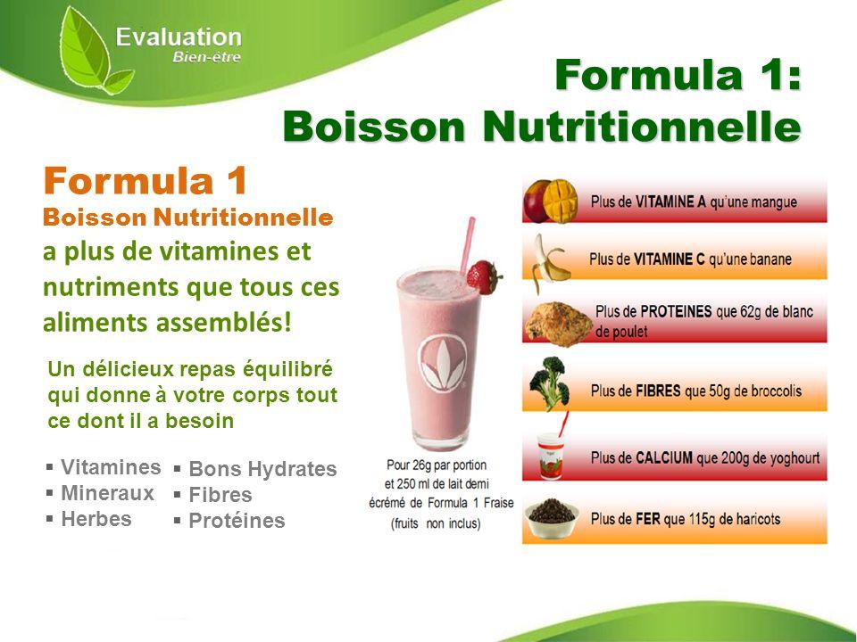 Formula 1 Boisson Nutritionnelle a plus de vitamines et nutriments que tous ces aliments assemblés! Formula 1: Boisson Nutritionnelle Un délicieux rep