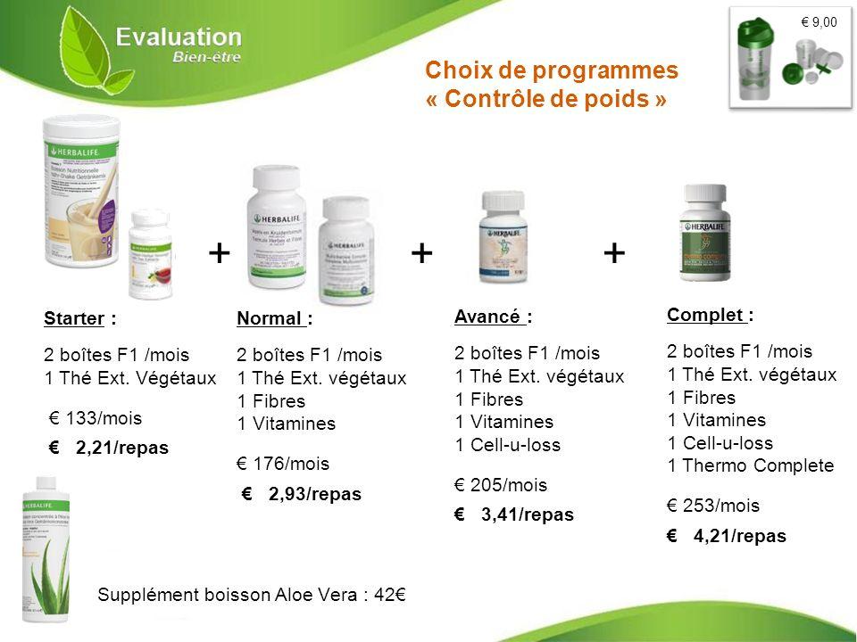 Choix de programmes « Contrôle de poids » + + + Starter : 2 boîtes F1 /mois 1 Thé Ext. Végétaux 133/mois 2,21/repas Normal : 2 boîtes F1 /mois 1 Thé E