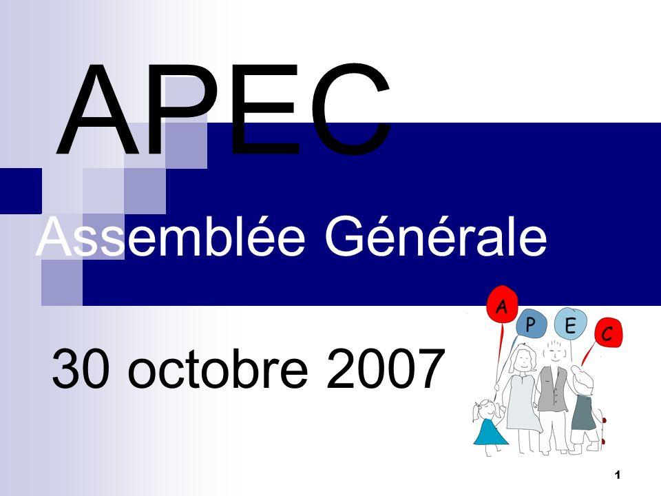 1 APEC Assemblée Générale 30 octobre 2007