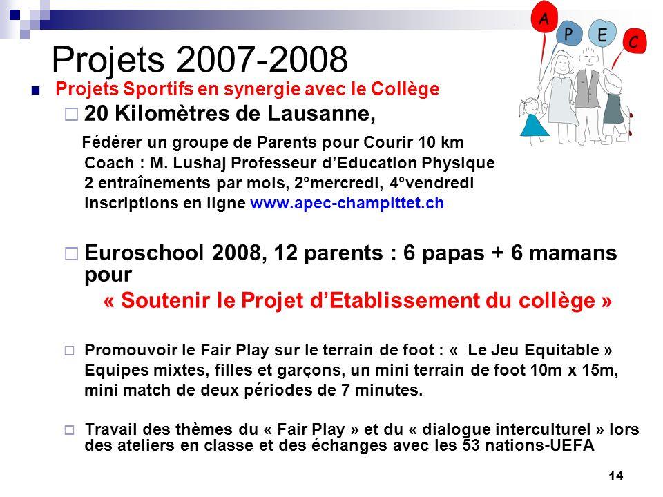 14 Projets 2007-2008 Projets Sportifs en synergie avec le Collège 20 Kilomètres de Lausanne, Fédérer un groupe de Parents pour Courir 10 km Coach : M.