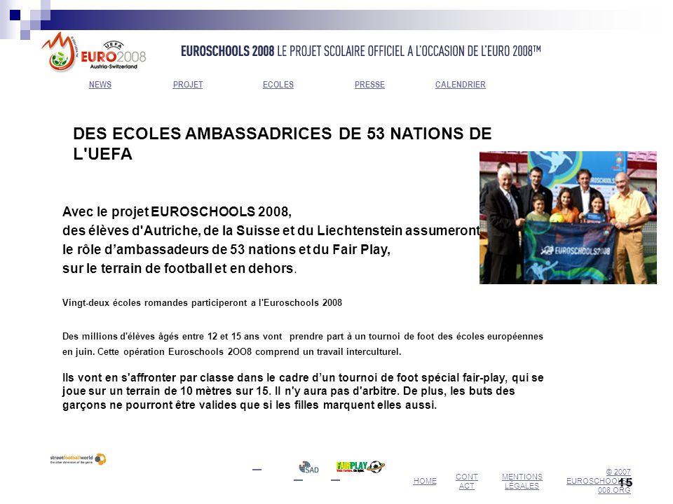 15 DES ECOLES AMBASSADRICES DE 53 NATIONS DE L'UEFA Avec le projet EUROSCHOOLS 2008, des élèves d'Autriche, de la Suisse et du Liechtenstein assumeron