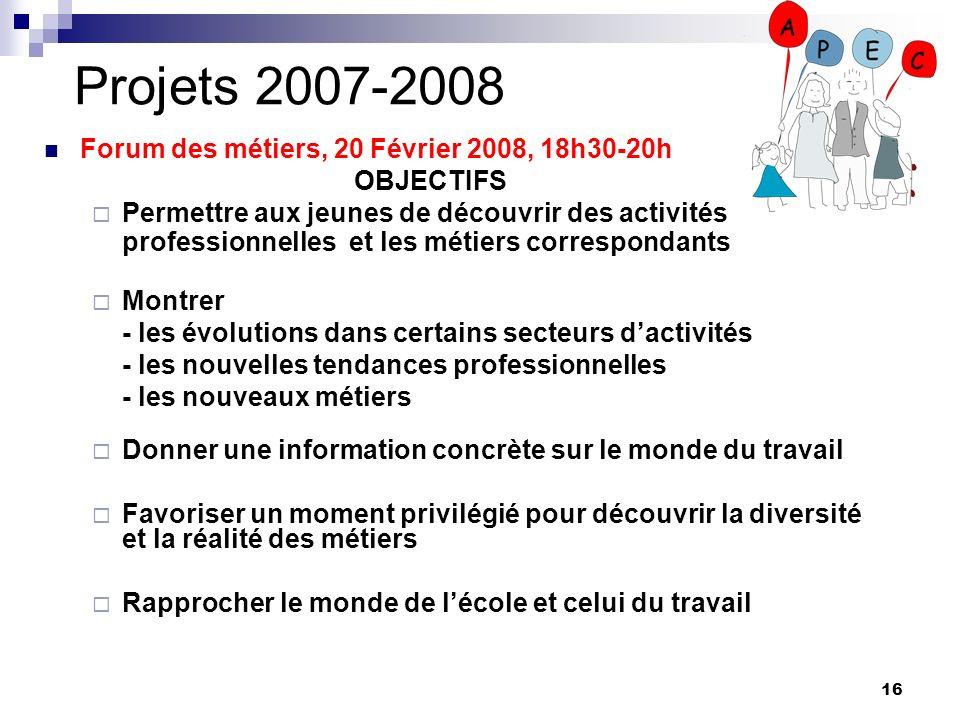 16 Projets 2007-2008 Forum des métiers, 20 Février 2008, 18h30-20h OBJECTIFS Permettre aux jeunes de découvrir des activités professionnelles et les m