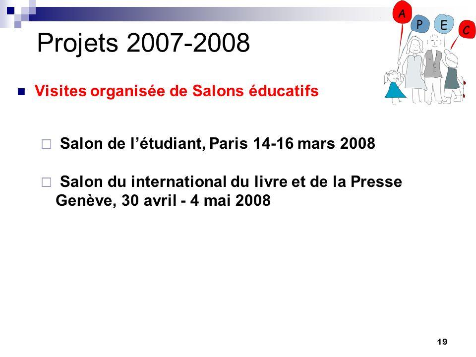 19 Projets 2007-2008 Visites organisée de Salons éducatifs Salon de létudiant, Paris 14-16 mars 2008 Salon du international du livre et de la Presse G