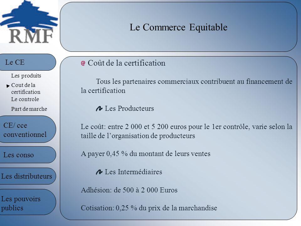 Le Commerce Equitable Coût de la certification Tous les partenaires commerciaux contribuent au financement de la certification Les Producteurs Le coût