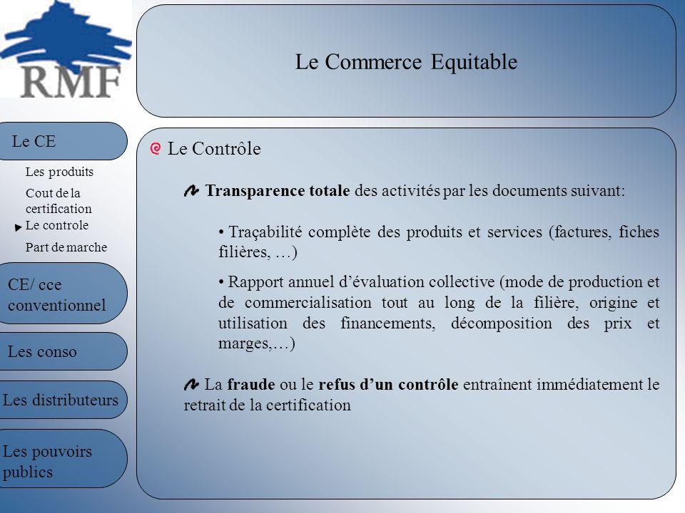 Le Commerce Equitable Le Contrôle Transparence totale des activités par les documents suivant: Traçabilité complète des produits et services (factures
