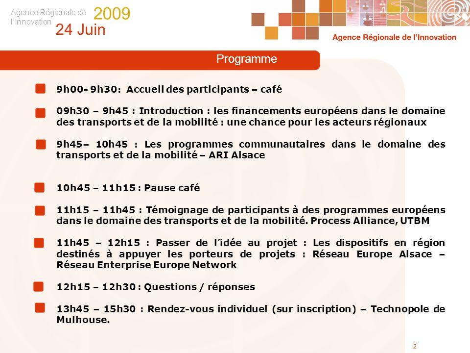 Agence Régionale de lInnovation 24 Juin 2009 2 Programme 9h00- 9h30: Accueil des participants – café 09h30 – 9h45 : Introduction : les financements eu