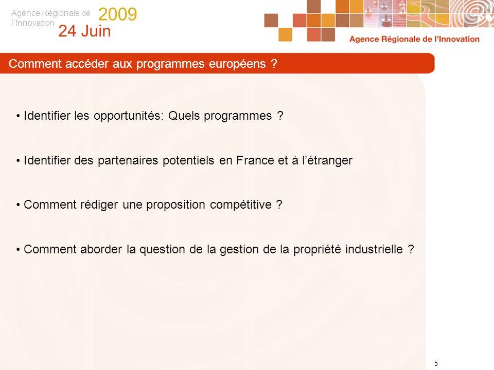 Agence Régionale de lInnovation 24 Juin 2009 5 5 Identifier les opportunités: Quels programmes ? Identifier des partenaires potentiels en France et à