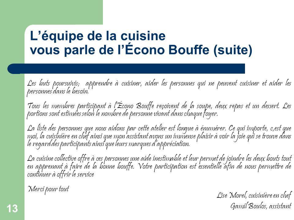 13 Léquipe de la cuisine vous parle de lÉcono Bouffe (suite) Les buts poursuivis; apprendre à cuisiner, aider les personnes qui ne peuvent cuisiner et aider les personnes dans le besoin.