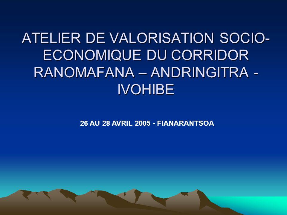 ATELIER DE VALORISATION SOCIO- ECONOMIQUE DU CORRIDOR RANOMAFANA – ANDRINGITRA - IVOHIBE 26 AU 28 AVRIL 2005 - FIANARANTSOA