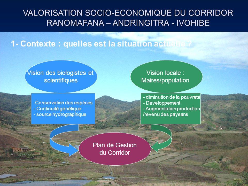 VALORISATION SOCIO-ECONOMIQUE DU CORRIDOR RANOMAFANA – ANDRINGITRA - IVOHIBE Vision des biologistes et scientifiques Vision locale : Maires/population