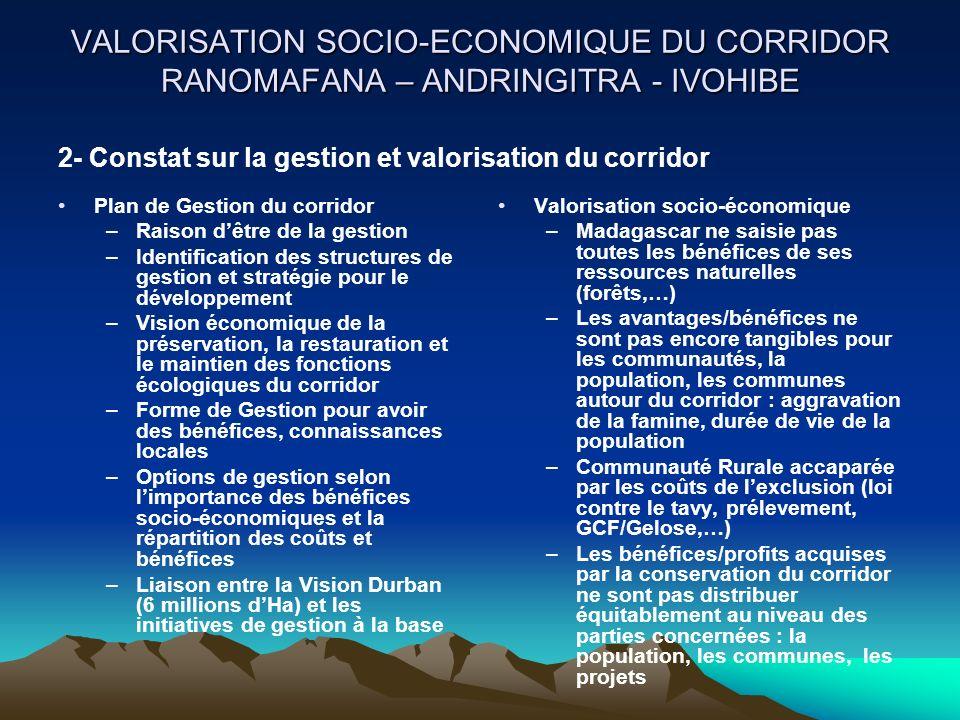VALORISATION SOCIO-ECONOMIQUE DU CORRIDOR RANOMAFANA – ANDRINGITRA - IVOHIBE Plan de Gestion du corridor –Raison dêtre de la gestion –Identification d