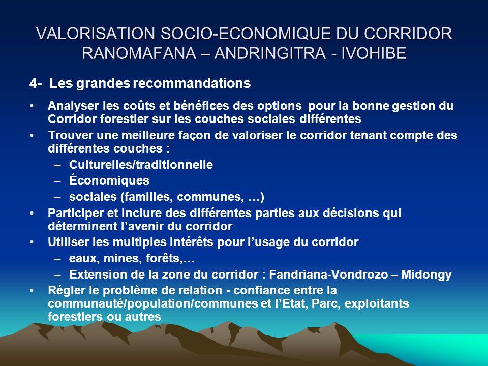 VALORISATION SOCIO-ECONOMIQUE DU CORRIDOR RANOMAFANA – ANDRINGITRA - IVOHIBE Analyser les coûts et bénéfices des options pour la bonne gestion du Corr