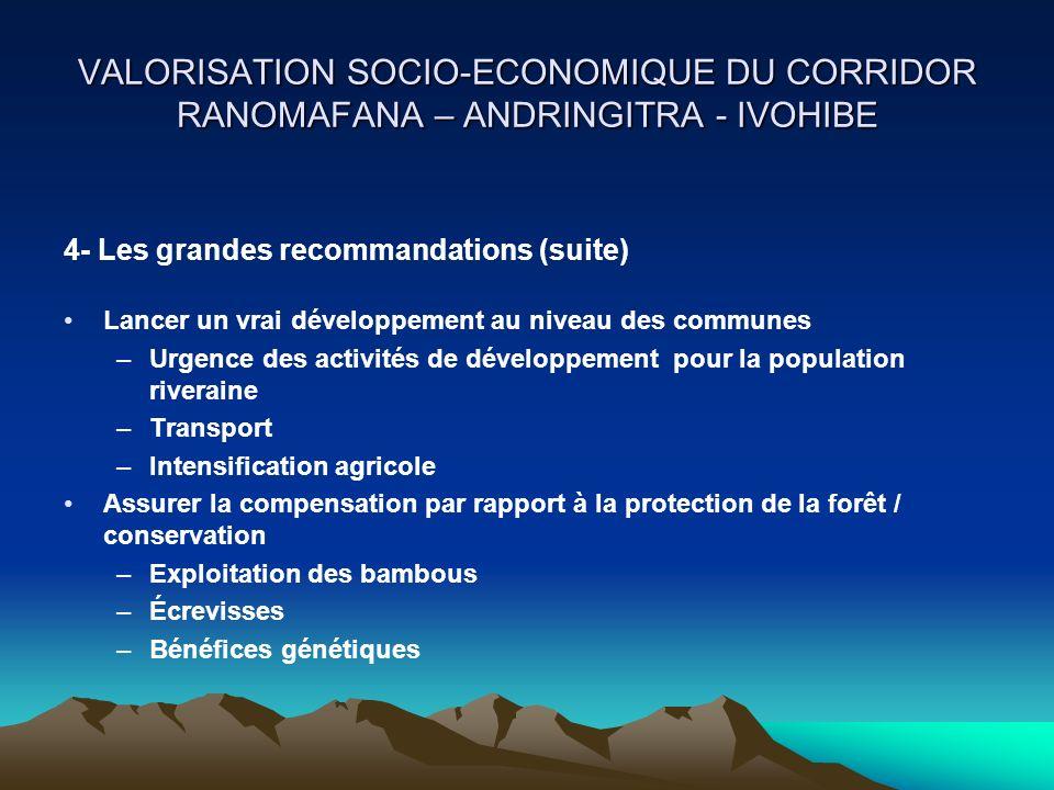 Lancer un vrai développement au niveau des communes –Urgence des activités de développement pour la population riveraine –Transport –Intensification a