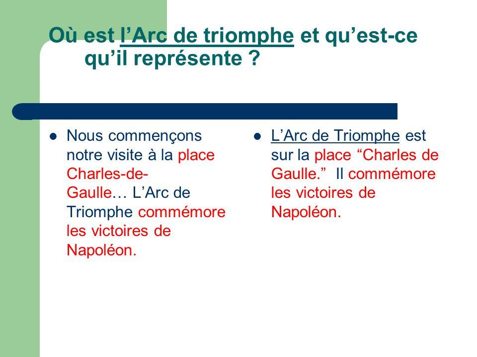 Où est lArc de triomphe et quest-ce quil représente ? Nous commençons notre visite à la place Charles-de- Gaulle… LArc de Triomphe commémore les victo