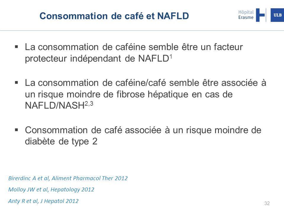 Consommation de café et NAFLD La consommation de caféine semble être un facteur protecteur indépendant de NAFLD 1 La consommation de caféine/café semble être associée à un risque moindre de fibrose hépatique en cas de NAFLD/NASH 2,3 Consommation de café associée à un risque moindre de diabète de type 2 32 Birerdinc A et al, Aliment Pharmacol Ther 2012 Molloy JW et al, Hepatology 2012 Anty R et al, J Hepatol 2012