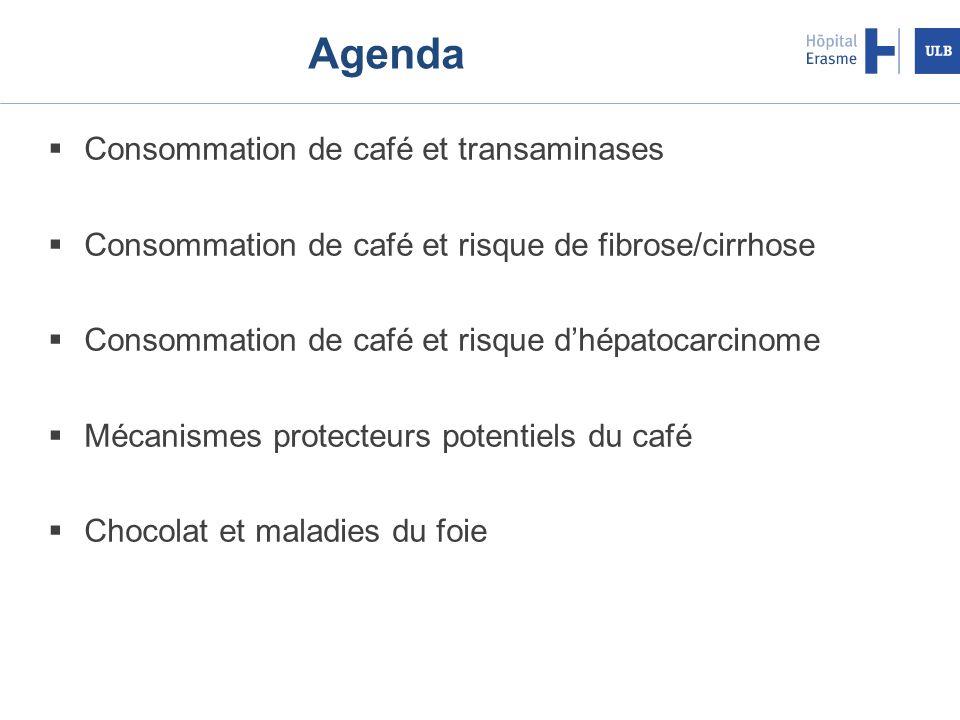 Agenda Consommation de café et transaminases Consommation de café et risque de fibrose/cirrhose Consommation de café et risque dhépatocarcinome Mécanismes protecteurs potentiels du café Chocolat et maladies du foie