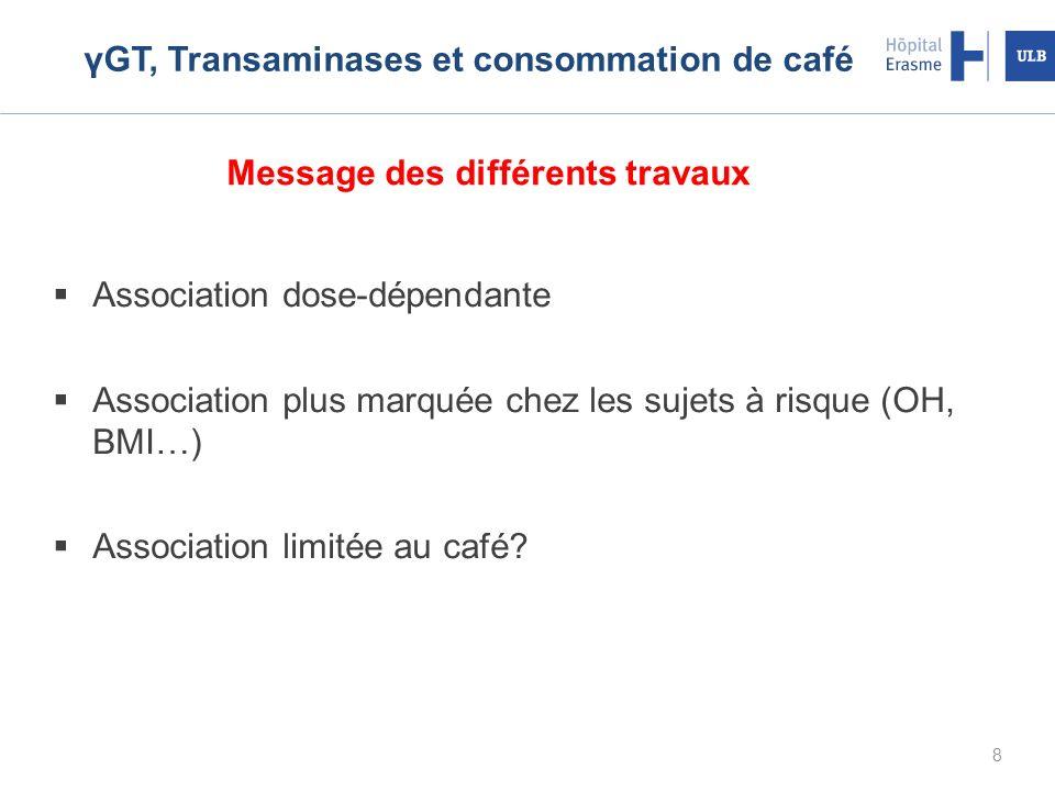 8 γGT, Transaminases et consommation de café Association dose-dépendante Association plus marquée chez les sujets à risque (OH, BMI…) Association limitée au café.