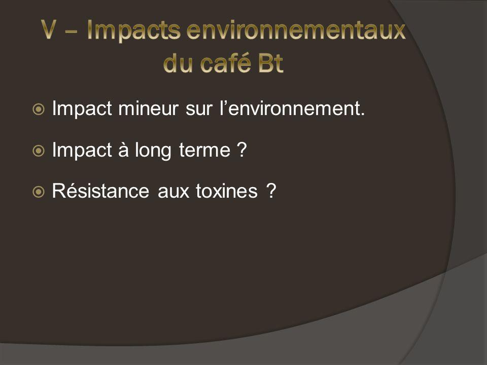 Impact mineur sur lenvironnement. Impact à long terme ? Résistance aux toxines ?