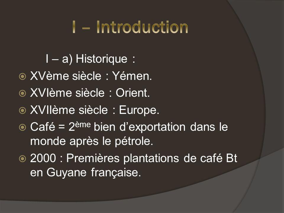 I – a) Historique : XVème siècle : Yémen.XVIème siècle : Orient.