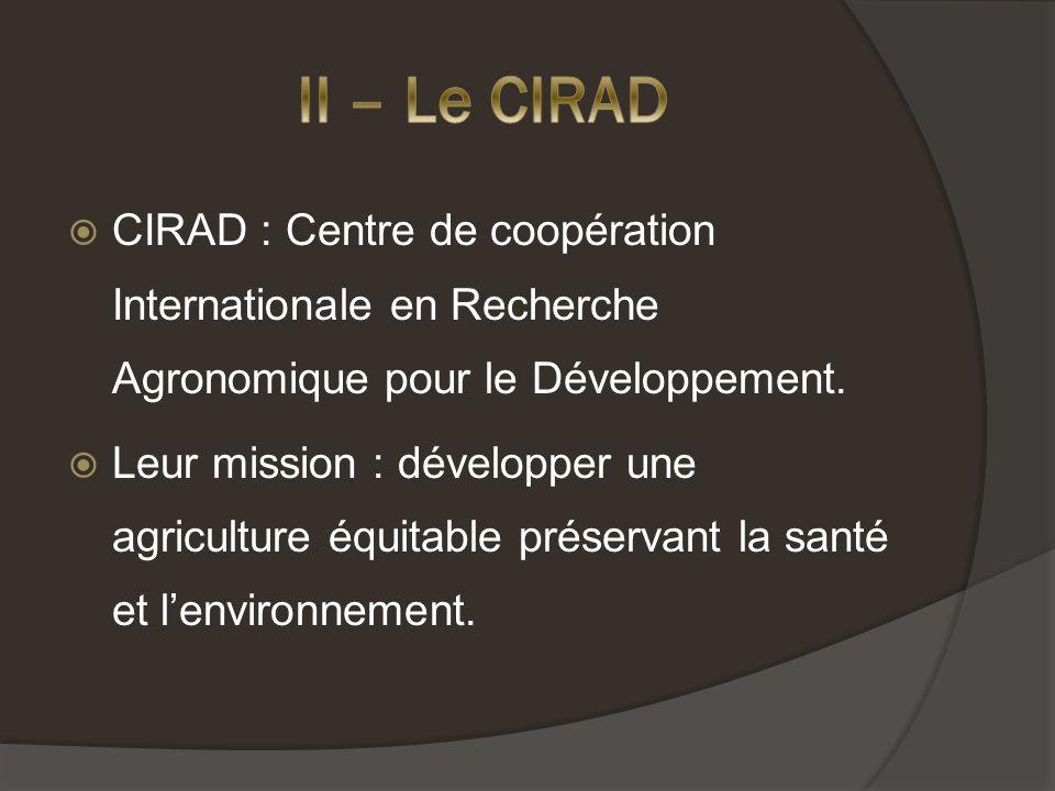 CIRAD : Centre de coopération Internationale en Recherche Agronomique pour le Développement.