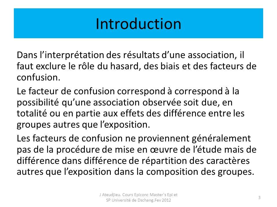 Introduction Dans linterprétation des résultats dune association, il faut exclure le rôle du hasard, des biais et des facteurs de confusion. Le facteu