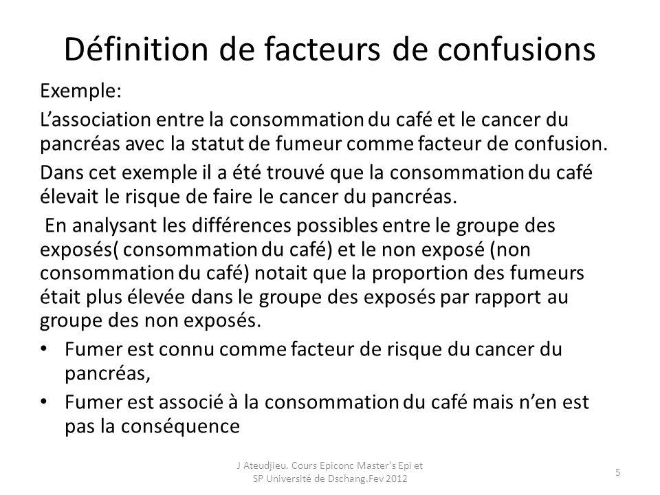 Définition de facteurs de confusions Exemple: Lassociation entre la consommation du café et le cancer du pancréas avec la statut de fumeur comme facte