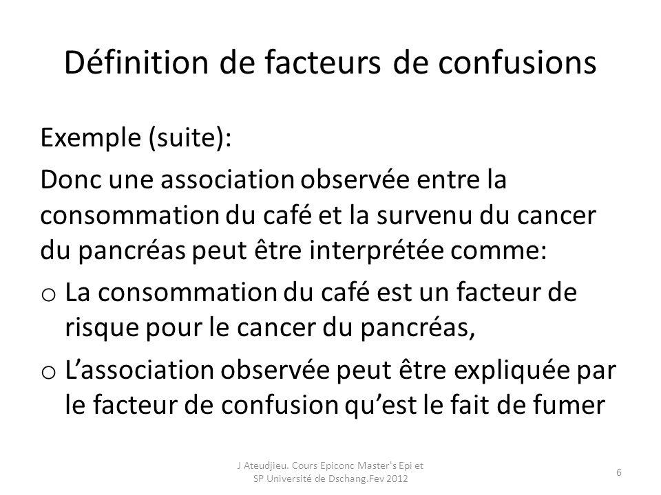 Définition de facteurs de confusions Exemple (suite): Donc une association observée entre la consommation du café et la survenu du cancer du pancréas