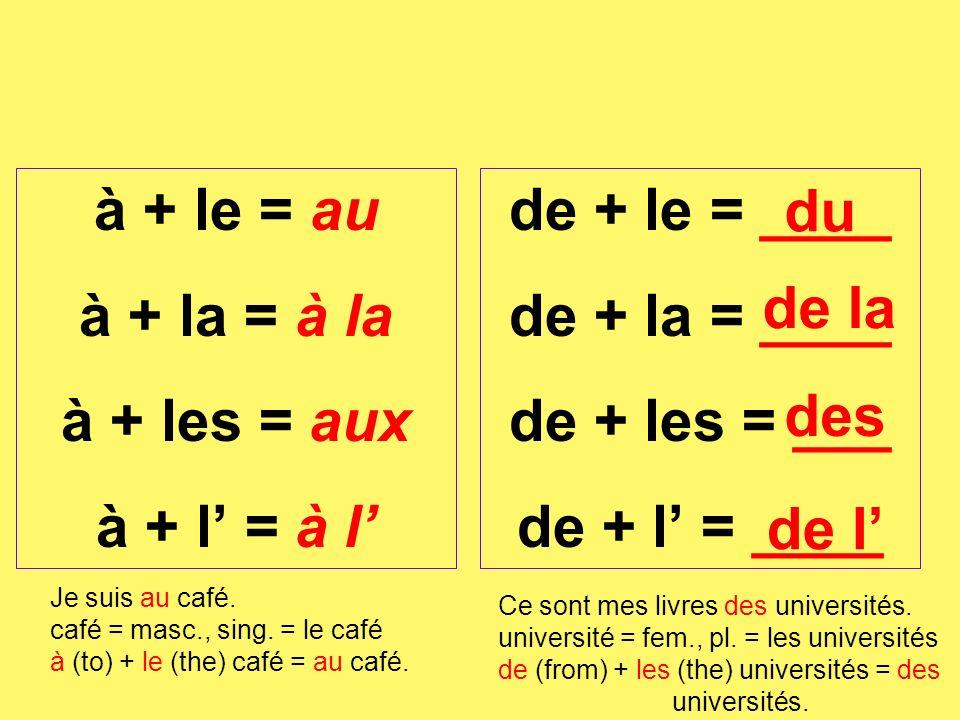 de + le = ____ de + la = ____ de + les = ___ de + l = ____ à + le = au à + la = à la à + les = aux à + l = à l Je suis au café. café = masc., sing. =