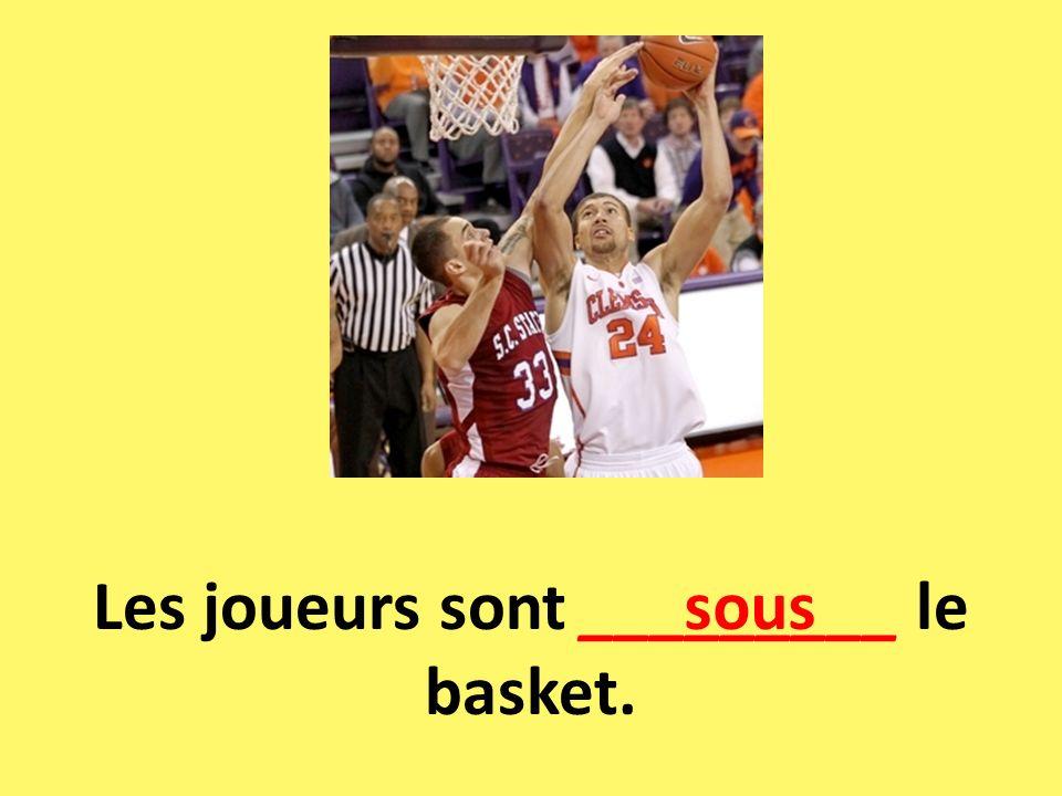 Les joueurs sont _________ le basket. sous