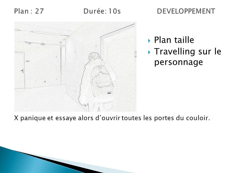 Plan taille Travelling sur le personnage X panique et essaye alors douvrir toutes les portes du couloir.