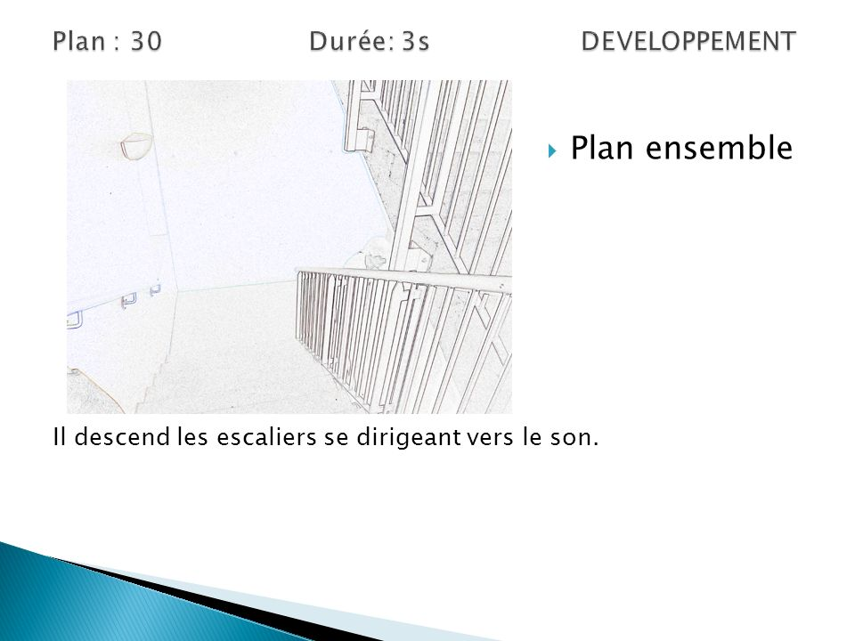 Plan ensemble Il descend les escaliers se dirigeant vers le son.