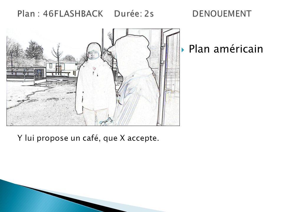 Plan américain Y lui propose un café, que X accepte.