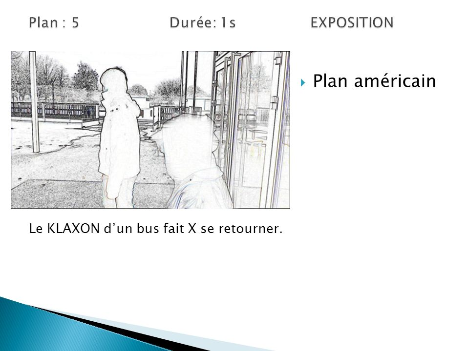 Plan densemble Vue Subjectif Le KLAXON dun bus fait X se retourner.