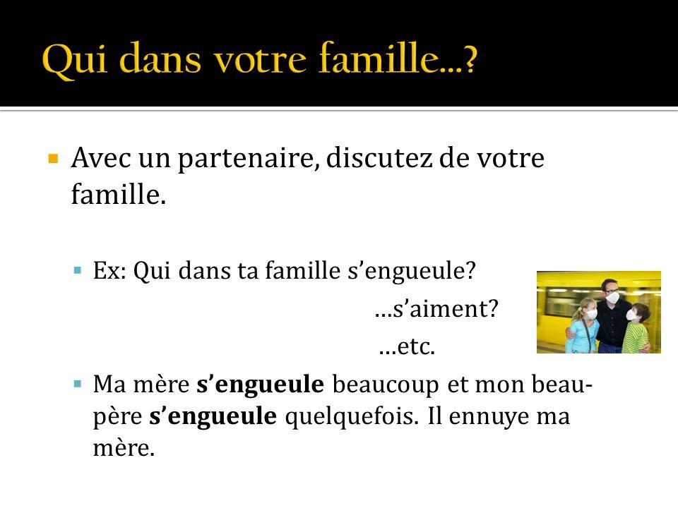 Avec un partenaire, discutez de votre famille. Ex: Qui dans ta famille sengueule? …saiment? …etc. Ma mère sengueule beaucoup et mon beau- père sengueu