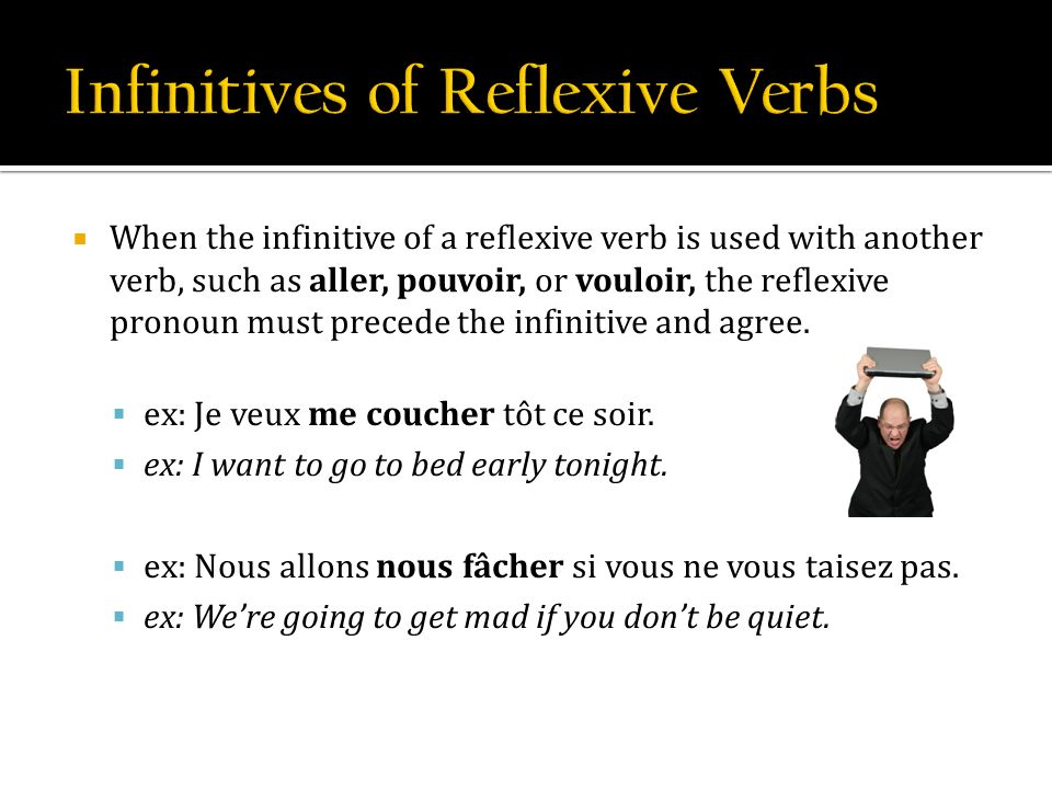 When the infinitive of a reflexive verb is used with another verb, such as aller, pouvoir, or vouloir, the reflexive pronoun must precede the infinitive and agree.