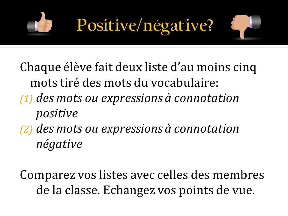 Chaque élève fait deux liste dau moins cinq mots tiré des mots du vocabulaire: (1) des mots ou expressions à connotation positive (2) des mots ou expr