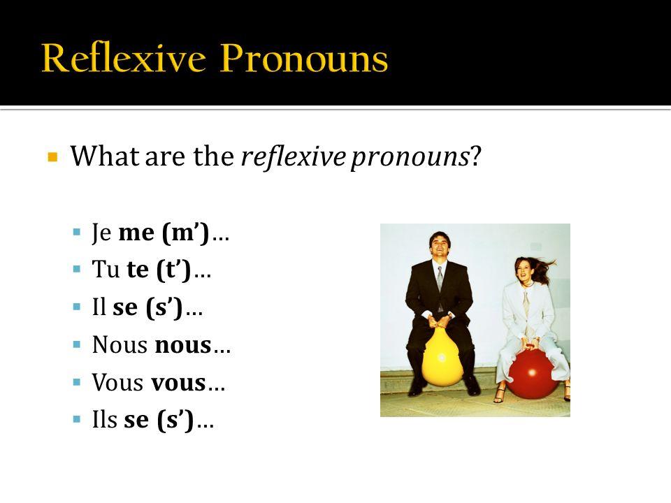 What are the reflexive pronouns? Je me (m)… Tu te (t)… Il se (s)… Nous nous… Vous vous… Ils se (s)…