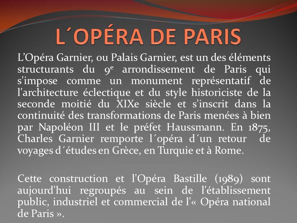 LOpéra Garnier, ou Palais Garnier, est un des éléments structurants du 9 e arrondissement de Paris qui s'impose comme un monument représentatif de l'a