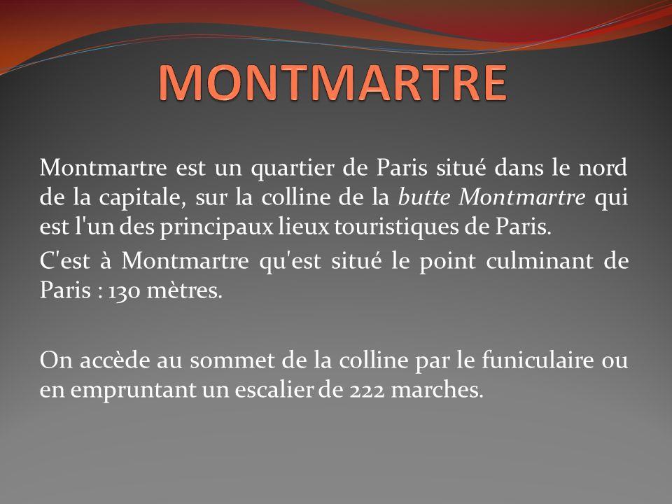 Montmartre est un quartier de Paris situé dans le nord de la capitale, sur la colline de la butte Montmartre qui est l'un des principaux lieux tourist