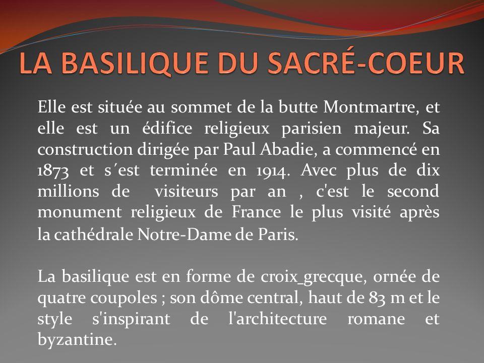 Elle est située au sommet de la butte Montmartre, et elle est un édifice religieux parisien majeur. Sa construction dirigée par Paul Abadie, a commenc