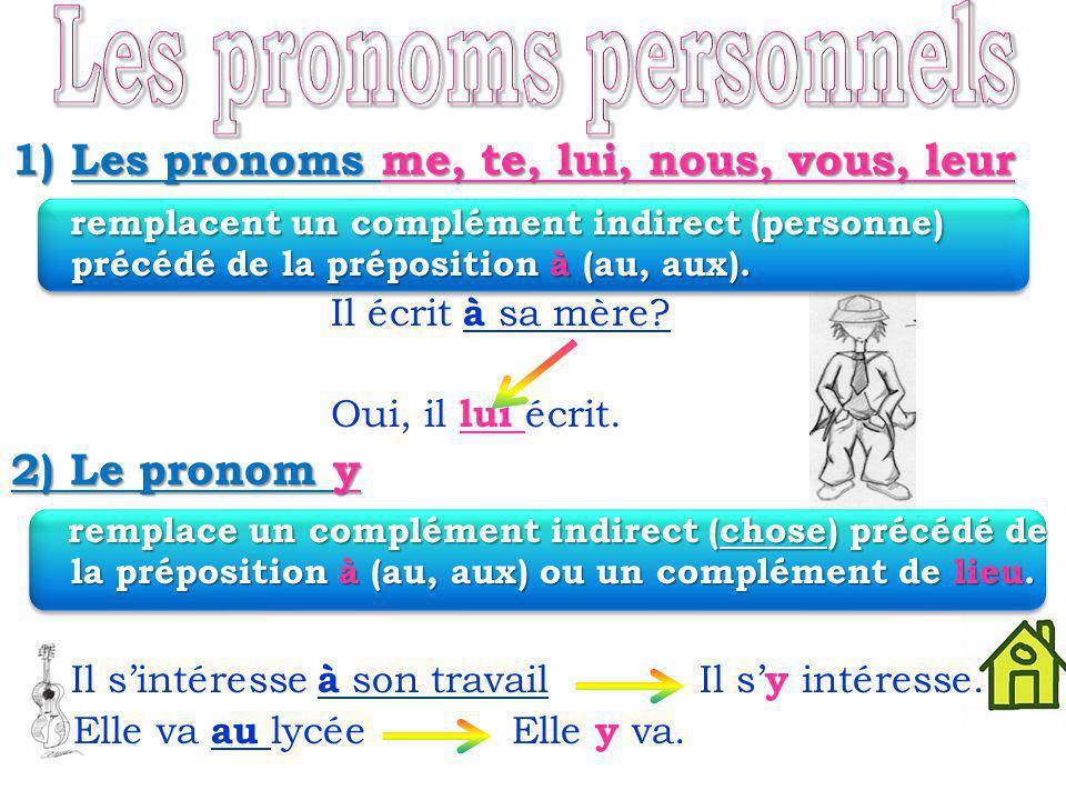 1)Les pronoms me, te, lui, nous, vous, leur remplacent un complément indirect (personne) précédé de la préposition à (au, aux).