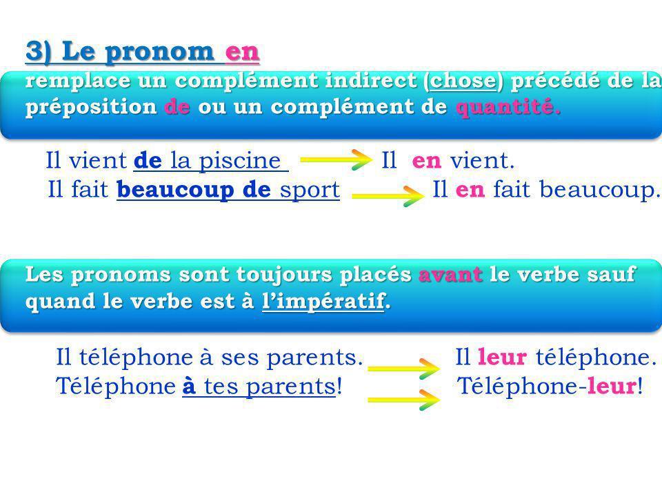 3) Le pronom en remplace un complément indirect (chose) précédé de la préposition de ou un complément de quantité.