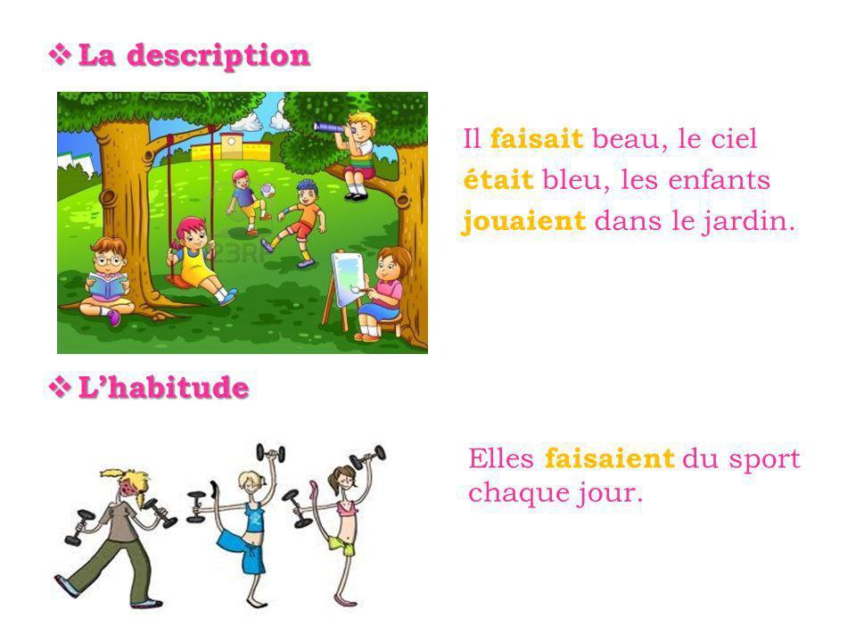 La description La description Il faisait beau, le ciel était bleu, les enfants jouaient dans le jardin.
