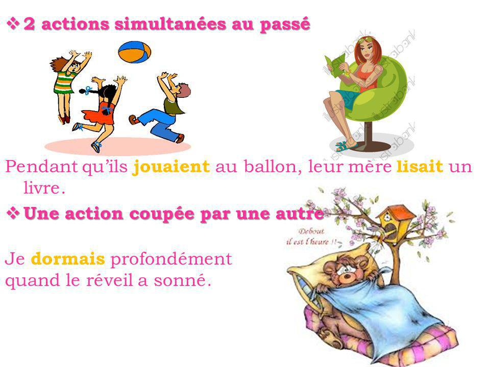 2 actions simultanées au passé 2 actions simultanées au passé Pendant quils jouaient au ballon, leur mère lisait un livre.