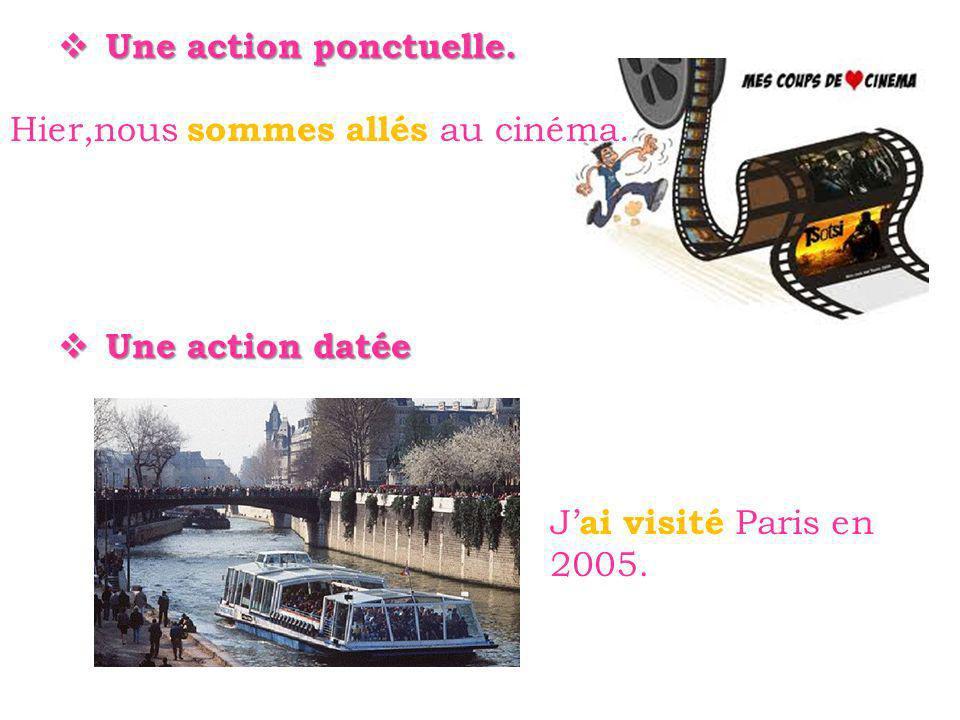 Une action ponctuelle. Une action ponctuelle. Une action datée Une action datée J ai visité Paris en 2005. Hier,nous sommes allés au cinéma.