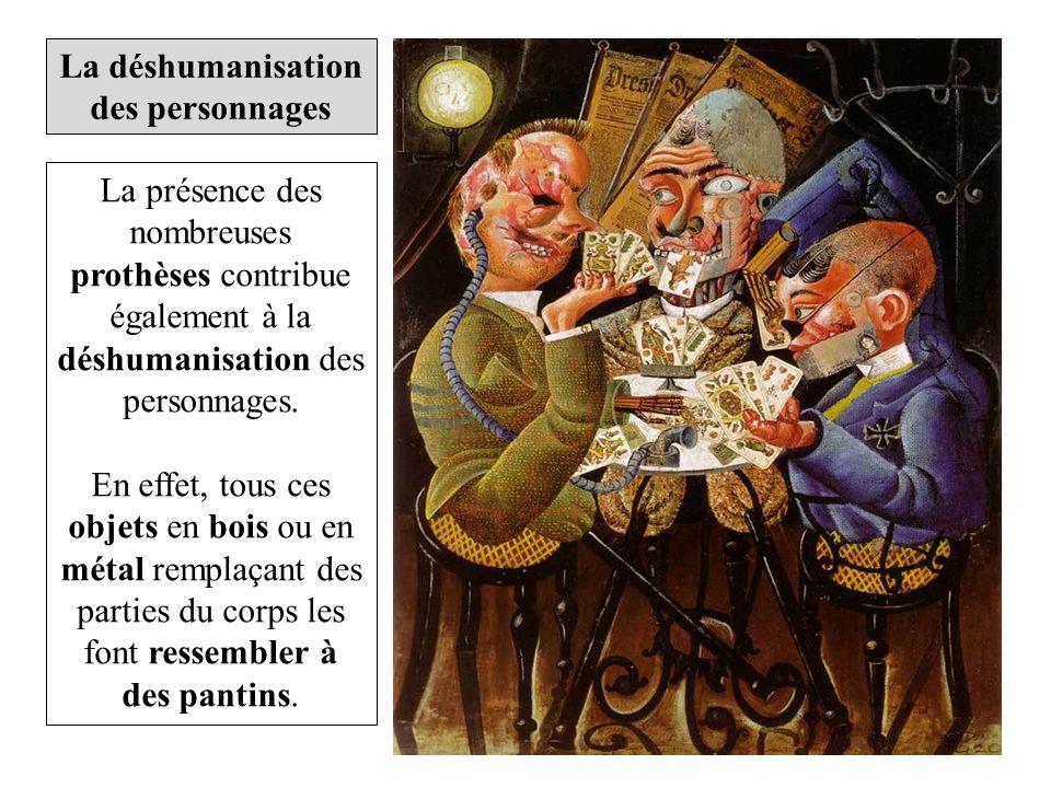 La présence des nombreuses prothèses contribue également à la déshumanisation des personnages.