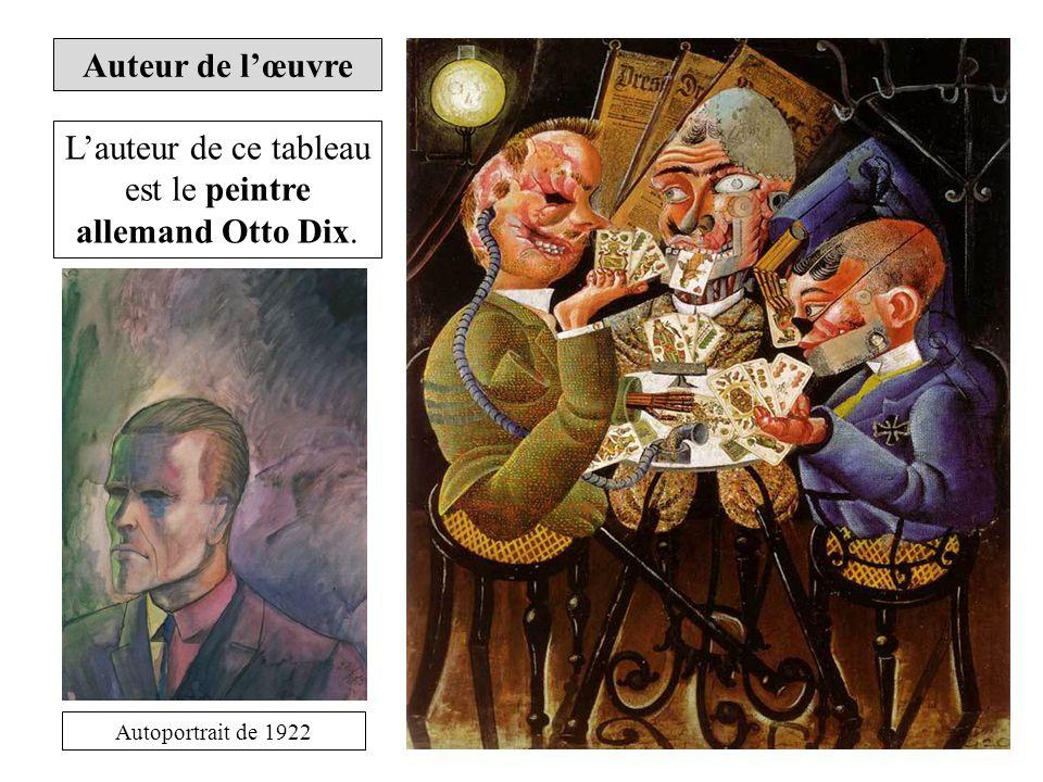 Lauteur de ce tableau est le peintre allemand Otto Dix. Autoportrait de 1922