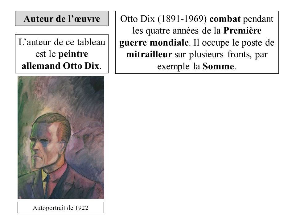 Auteur de lœuvre Lauteur de ce tableau est le peintre allemand Otto Dix.