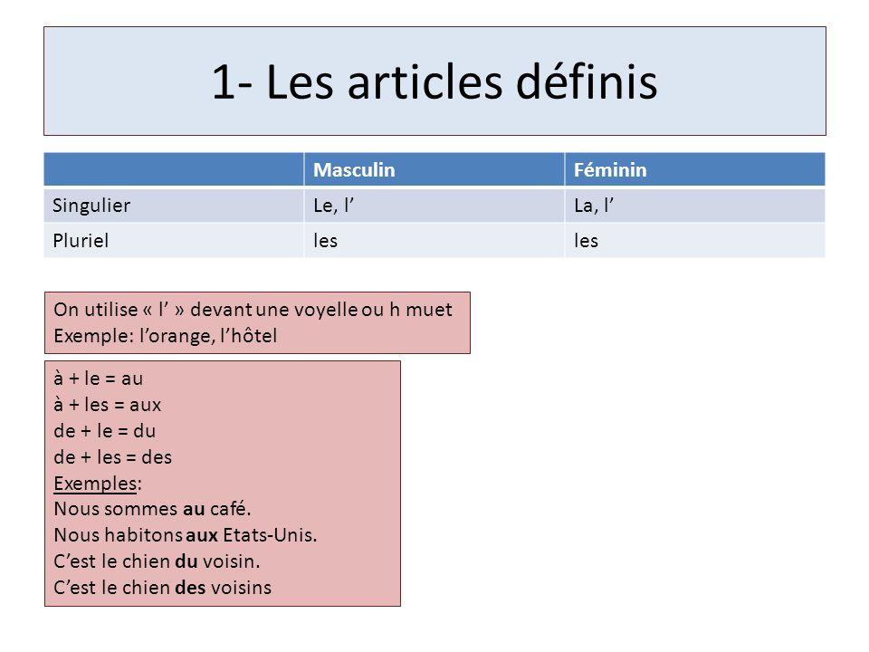 1- Les articles définis MasculinFéminin SingulierLe, lLa, l Plurielles On utilise « l » devant une voyelle ou h muet Exemple: lorange, lhôtel à + le =
